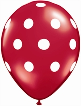 """Red With White Dots 11"""" Latex Balloons 25pk"""
