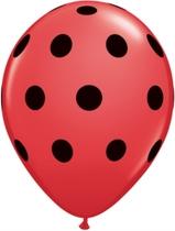 """Red With Black Dots Polka Dots 11"""" Latex Balloons 25pk"""