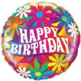 "Flower Power Happy Birthday Foil Balloon 18"""