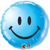 """18"""" Blue Smiley Face Foil Balloon"""