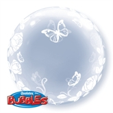 "Elegant Roses & Butterflies Deco Bubble Balloon 24"""
