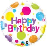 "18"" Dotty Happy Birthday Foil Balloon"