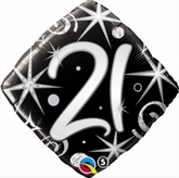 21st Birthday Sparkles & Swirls Diamond Foil Balloon