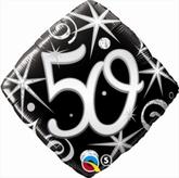50th Birthday Sparkles & Swirls Diamond Foil Balloon