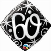 60th Birthday Sparkles & Swirls Diamond Foil Balloon