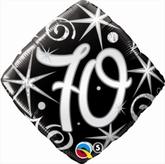70th Birthday Sparkles & Swirls Diamond Foil Balloon