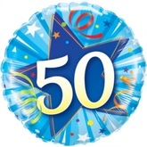 50th Birthday Shining Star Bright Blue Foil Balloon
