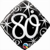 80th Birthday Sparkles & Swirls Diamond Foil Balloon