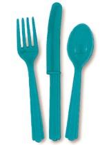 Caribbean Teal Assorted Plastic Cutlery 18pk