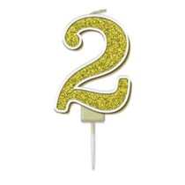 Number 2 Sparkling Fizz Gold Candle