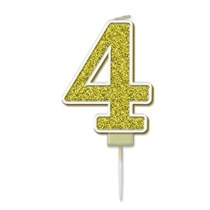 Number 4 Sparkling Fizz Gold Candle