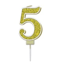 Number 5 Sparkling Fizz Gold Candle