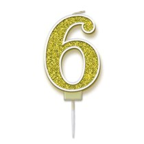 Number 6 Sparkling Fizz Gold Candle