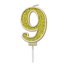 Number 9 Sparkling Fizz Gold Candle