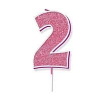 Number 2 Sparkling Fizz Pink Candle