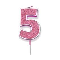 Number 5 Sparkling Fizz Pink Candle