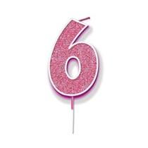 Number 6 Sparkling Fizz Pink Candle