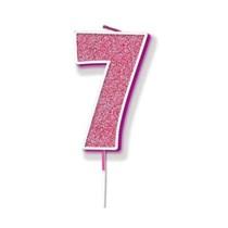 Number 7 Sparkling Fizz Pink Candle