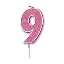 Number 9 Sparkling Fizz Pink Candle