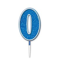 Number 0 Sparkling Fizz Blue Candle