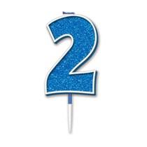 Number 2 Sparkling Fizz Blue Candle