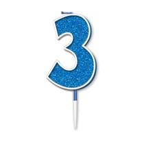 Number 3 Sparkling Fizz Blue Candle