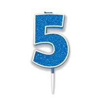 Number 5 Sparkling Fizz Blue Candle