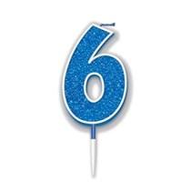 Number 6 Sparkling Fizz Blue Candle