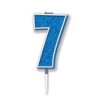 Number 7 Sparkling Fizz Blue Candle