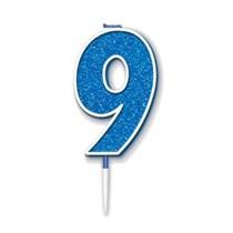 Number 9 Sparkling Fizz Blue Candle