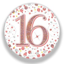 16th Birthday Sparkling Fizz Rose Gold Holographic Badge
