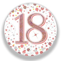 18th Birthday Sparkling Fizz Rose Gold Holographic Badge