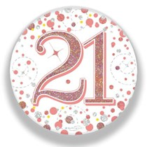 21st Birthday Sparkling Fizz Rose Gold Holographic Badge