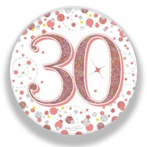 30th Birthday Sparkling Fizz Rose Gold Holographic Badge