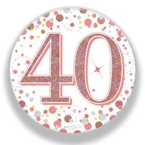 40th Birthday Sparkling Fizz Rose Gold Holographic Badge