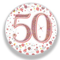 50th Birthday Sparkling Fizz Rose Gold Holographic Badge