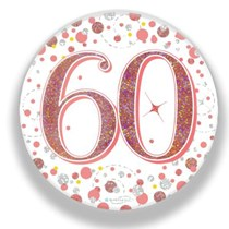 60th Birthday Sparkling Fizz Rose Gold Holographic Badge