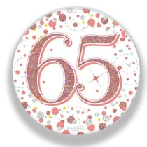 65th Birthday Sparkling Fizz Rose Gold Holographic Badge