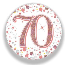 70th Birthday Sparkling Fizz Rose Gold Holographic Badge