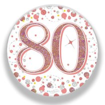 80th Birthday Sparkling Fizz Rose Gold Holographic Badge