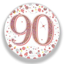 90th Birthday Sparkling Fizz Rose Gold Holographic Badge