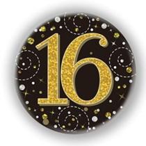 16th Birthday Sparkling Fizz Black Gold Holographic Badge