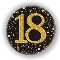 18th Birthday Sparkling Fizz Black Gold Holographic Badge