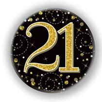 21st Birthday Sparkling Fizz Black Gold Holographic Badge