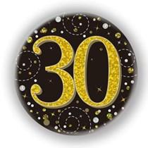 30th Birthday Sparkling Fizz Black Gold Holographic Badge