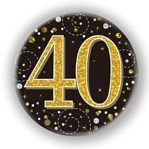 40th Birthday Sparkling Fizz Black Gold Holographic Badge
