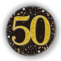 50th Birthday Sparkling Fizz Black Gold Holographic Badge