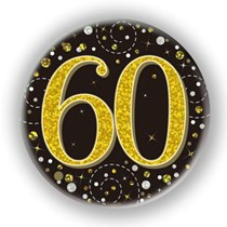 60th Birthday Sparkling Fizz Black Gold Holographic Badge