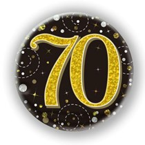 70th Birthday Sparkling Fizz Black Gold Holographic Badge