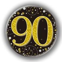 90th Birthday Sparkling Fizz Black Gold Holographic Badge